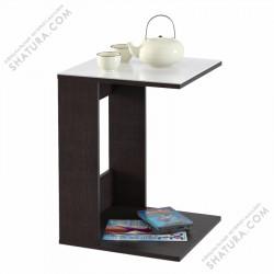 Приставной стол MAYER 1 венге/стекло белое
