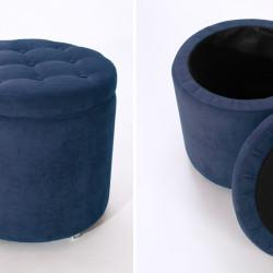 ММ Пуф Комо с крышкой синий (тк.VEROVA Denim Blue)
